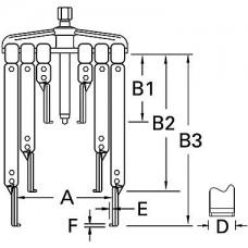 ATB-1141I Набор съемников с двумя и тремя узкими захватами американского типа (56, 170, 220мм)