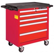 AWX-2602RTSEK01 Телега инструментальная 256пр., 5 полок, пласт. стол., красная