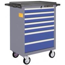 AWX-2603BTSBK02 Телега инструментальная 366пр., 7 полок, пласт. стол., ложемент-кейс, сине-серая