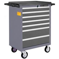 AWX-2603GTSBK02 Телега инструментальная 366пр., 7 полок, пласт. стол., ложемент-кейс, серая