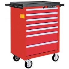 AWX-2603RTSBK02 Телега инструментальная 366пр., 7 полок, пласт. стол., ложемент-кейс, красная