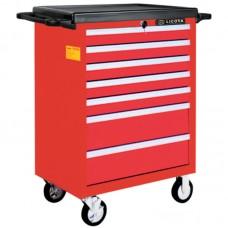 AWX-2603RTSK08 Телега инструментальная 387пр., 7 полок, пласт. стол., красная